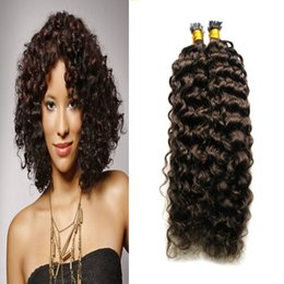Discount dark blonde curly hair extensions - brazilian deep curly virgin hair 1g Strands I Tip Hair Extension Fusion Human Colorful Extensions Pre Bonded Hair Extens
