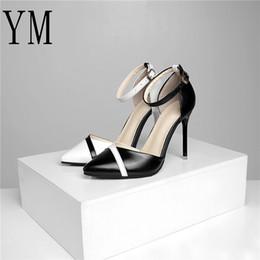 Hot Sexy White Dresses Australia - Hot 2019 Fashion Women Shoes High Heels Stiletto Ankle Strap 6 10cm Sexy Pumps Black Thin Heel Buckle White Hollow Bridal 34-40