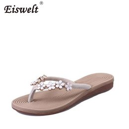$enCountryForm.capitalKeyWord Australia - EISWELT New Plus Size Fashion Floral Metal Beach Shoes Women Summer Slippers Summer Flip Flops Flat Shoes for Ladies Sandals