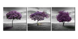 $enCountryForm.capitalKeyWord NZ - Wall Art Painting Autumn Decor Green Lawn Landscape Meadow Purple Tree Vintage Style 3 Pieces Panel Paintings Wall 2017 New