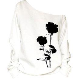 White Rose Pullover Australia - Women Hoodies Sweatshirts Fall 2017 Fashion Rose Printing White Long Sleeve Loose Casual Sweatshirt Pullover Sudaderas Mujer