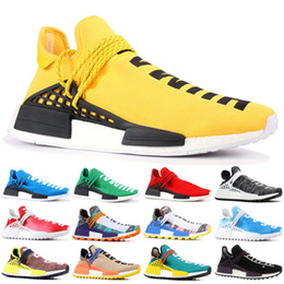 Wholesale red black art online – design 2019 NMD Human Race Pharrell Williams Hu trail NERD Men Women Running Shoes XR1 Black Nerd Designer Sneakers Sports Shoes With Box