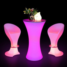 Wholesale LED Plastic Bar Chair Stool Lighting table Chair Multi Color Changing Luminous Table Chair