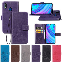 oppo wallet Australia - For OPPO Realme 3 Case Cover Kickstand Made of PU Leather Lucky Four Clover Pattern with Wallet Card Slot Hand Strap(Realme 3)
