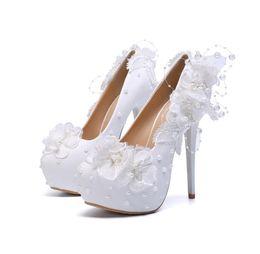 205270da41ac Pearl Stilettos UK - New 2019 wedding shoes lace flower pearl ladies high  heels stiletto heels