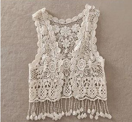 Wholesale Sexy Beach Embroidery Vintage Retro Sweet Cute girls Crochet Floral Hollow Lace Vest outwear Slim Bohemia Tank Top A5957