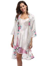 $enCountryForm.capitalKeyWord UK - Piece Silk Set Women 2 Peacock Kimono Robes Sexy Lingerie Women Wedding Party Bridesmaid Robe Satin Nightgown Bathrobe Pijam