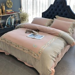 Discount western bedding sets - Pink Luxury Embroidered Soft Thicken Sanding Royal Bedding sets Queen King Western Duvet cover Bed sheet set Pillowcases