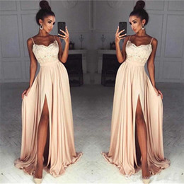 $enCountryForm.capitalKeyWord Australia - 2019 Elegant Champagne Lace Chiffon Prom Dresses Sexy Front Slit Spaghetti Straps Long Party Evening Dress Vestidos de fiesta Gowns