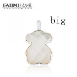 Moonstone diaMond online shopping - FAHMI Sterling Silver Exquisite Faceted Crystal Milky White Charm Bear Pendant Original Women Simple BIG