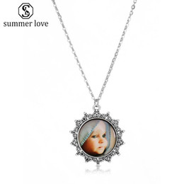 baby links 2019 - Retro Glass Cabochon Cute Baby Pendant Charm Neckalce for Women VintAge Silver Bronze Chain Leather Necklace Fashion Jew