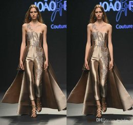 $enCountryForm.capitalKeyWord Australia - 2019 New Gloosy Prom Dresses Jumpsuits Rose Golden Lace Applique Pants Satin Evening Gowns Formal Party Dress Celebrity Gown
