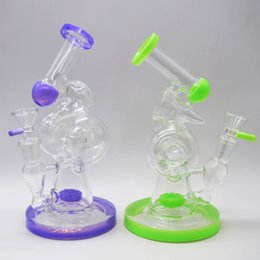 $enCountryForm.capitalKeyWord Canada - Unique Glass Bongs Double Donuts Recycler Glass Water Pipes Inline Tyre Perc Bubbler Dab Oil Rigs 8 inch Tall Hammered Chamber Hookahs Pipes