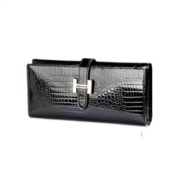 hasp wallet purse UK - Crocodile Pattern Cowhide Wallet Female Genuine Patent Leather Money Purse Long Slim Phone Pouch Women Wallets With Card Holder Y19051702