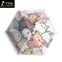 Sun Plastic Coating Australia - Ttk Cats Mini Sun Umbrella Women Black Coating Sunscreen Brand Pocket 5 Folding Umbrellas Children Guarda Chuva Fashion Paraguas Y19062103