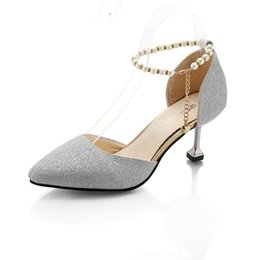 $enCountryForm.capitalKeyWord Australia - Spring and Summer Woman Pumps Pointed Toe Female High Heels Shoes Sequined Cloth Med Ankle Strap Party High Heels for Ladies