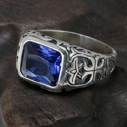 mens sterling silver stone rings NZ - Real Pure 925 Sterling Silver Rings For Men Blue Natural Crystal Stone Mens Ring Vintage Hollow Engraved Flower Fine Jewelry J190625