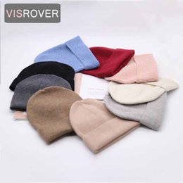 cashmere beanies for women Australia - VISROVER 9 colorways new Autumn winter solid color real cashmere beanies for woman cashmere unisex Warm knitted hat wholesales