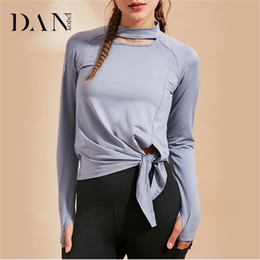 Female Sport Clothes Australia - DANENJOY New Yoga Long Sleeve Crop Top Female Cross-Sports Workout Clothes Quick Dry Casual Sportswear Gym T-shirt Fitness Wear