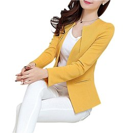 long women working suits Canada - Wholesale Spring Women Slim Blazer Coat 2019 Plus Size Casual Jacket Long Sleeve One Button Suit Lady Blazers Work Wear TOP Y068 Y190925