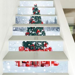removable sticker for stairs NZ - 3D Christmas Stair Sticker Set Staircase Decals Self adhesive Removable Stair Decal DIY Wall Stickers For Home Festival Decor