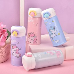 Thermos boTTle child online shopping - Cartoon Unicorn Thermos Cup Stainless Steel Bounce Bover Water Bottle Children Portable Straight Cup Kids Water Bottles ZZA794