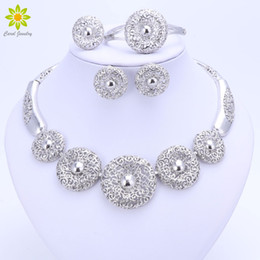 purple crystal costume jewelry Canada - Vintage Women Clear Crystal Hollow Patterns Silver Plated African Dubai Bridal Wedding Costume Necklace Jewelry Sets