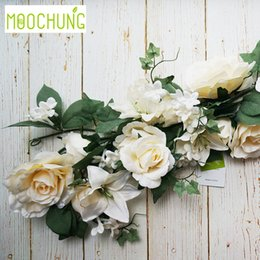 artificial white rose vine NZ - MOOCHUNG 176cm Artificial Rose Lily Flower Vine Garland Silk Fake Floral Rattan Wedding Decoration Mariage Party Home Xmas Decor C18112601