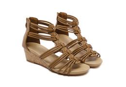 shoes stone sandals 2019 - STONE VILLAGE New Arrival Women Shoes Comfort Rome Gladiator Casual Beach Sandals Woman Summer Zip Sandalias Large Size