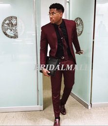 Cheap mens tie online shopping - 2019 Chic Burgundy Two Pieces Mens Suits Slim Fit Wedding Grooms Tuxedos Cheap One Button Formal Prom Suits Business Party Jacket Pants Tie