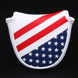 magnetic flag UK - Siranlive Golf Mallet Head Cover Putter Cover with Magnetic Closure Golf Headcover USA Flag Free Shipping
