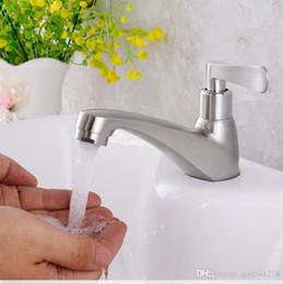 Único frio 304 aço inoxidável banheiro bacia pequeno torneira escovado plataforma de superfície montado venda por atacado