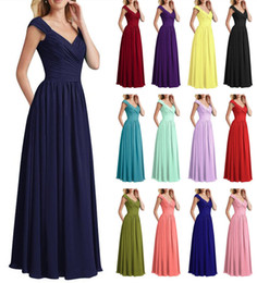 elegant chiffon bridesmaid dresses Canada - Elegant Chiffon Bridesmaid Dresses Jewel Sleeveless Wedding Guest Dress Lace up Chiffon Cheap bridesmaids dress Formal Maid of Honor Gown