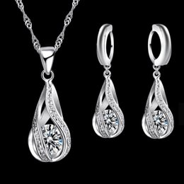 $enCountryForm.capitalKeyWord NZ - Crystal Diamond Water Drop Necklace Earrings Sets Gold Chain Necklace for Women Fashion Wedding Jewelry Sets Gift Drop Shipping