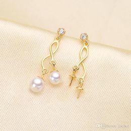 $enCountryForm.capitalKeyWord Australia - 5 PCS S925 Silver Pearl Ear Studs Earrings Double Beads for Women DIY Bead Suprise Jewellery