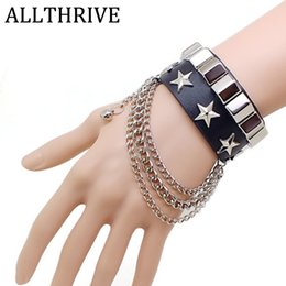 Discount rock accessories - Punk Style Pentagram Leather Bracelets Bangles Rivet Non-mainstream Domineering Accessories Rock And Roll Vintage Lovers
