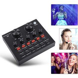Toptan satış V8 Şarkı Kaydı KTV Ses Kartı Ev Harici USB Canlı Yayın Bilgisayar Kulaklık Mikrofon PC Karaoke Sesli Sohbet Sesli