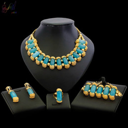 $enCountryForm.capitalKeyWord Australia - Yulaili High Quality Semi-Precious Stone Classic Design Dubai Jewelry Sets Multicolor Necklace Earrings for Women Wedding Party Gifts