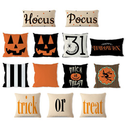 Halloween Linen Pumpkin Pillow Case 45*45cm Cotton Pillow Cover Car Sofa Cushion Cover Home Decoration Bed Sofa Supplies HHA705 on Sale