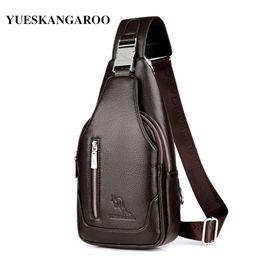 men leather shoulder bag kangaroo 2019 - YUES KANGAROO Brand Men Chest Bag Single Messenger Bag Leather Travel Crossbody Vintage Rucksack Chest Shoulder HA-029 d