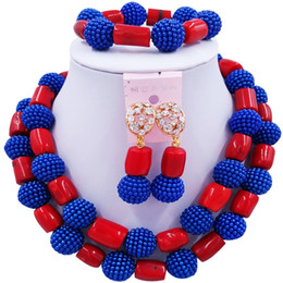 royal blue jewelry sets NZ - Nice Quality Royal Blue Red African Women Party and Daily Crystal Necklace Jewelry Sets 2C-ZHSH-07