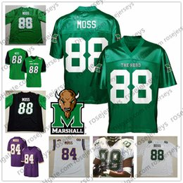 Wholesale NCAA Marshall Randy Moss Green Jersey Moss Purple Vintage Retired Player Blue Red White Retro Thundering Herd College Football