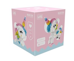 Wholesale LOZ Diamond Blocks Rainbow Unicorn Anime Action Figure Cartoon Colorful Animals Educational Bricks Toys for Children DIY for Christmas