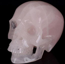 crystal heads Australia - New + + Natural rose pink quartz crystals skull head carving healing