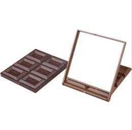 $enCountryForm.capitalKeyWord Australia - Cute Mini Makeup Mirror Chocolate Cookie Shaped Square Pocket Mirror Glass+Plastic Women Girl Lovely fast shipping