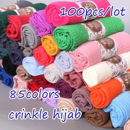 $enCountryForm.capitalKeyWord NZ - 100pcs lot plain crinkled hijab bubble cotton viscose scarf muslim hijab wraps scarves Wrinkle women shawl 85 colors