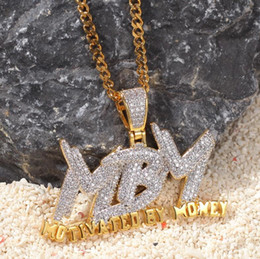 $enCountryForm.capitalKeyWord Australia - New Type Micro-zircon MBM Pendant Motivated ByMoney Double-color Copper-plated Zircon Necklace