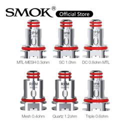 Venta al por mayor de SMOK RPM40 bobina 0.4ohm RPM RPM 0.6ohm malla triple CC Bobinas 1.2ohm cuarzo 1.0ohm SC Bobinas RPM reemplazo para RPM40 Kit original del 100%