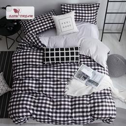 Black White Rose Bedding Australia - SlowDream Black White Grid Geometic Bedding Set Duvet Cover Set Flat Sheet Double Bed Sheet Nordic Single Bedclothes Home Textil