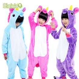 85316289d6 Ropa de dormir de franela para niños cálidos Unicornio Niños Niñas Pijamas  Kigurumi Dibujos animados Anime Mono Niños Cosplay Traje Manta Durmientes